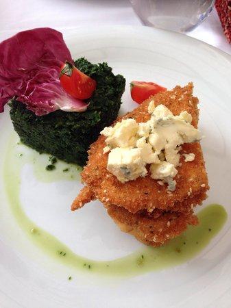 Uptown: One of my favorite international dishes in Bucharest: chicken schnitzel with blue cheese dressin