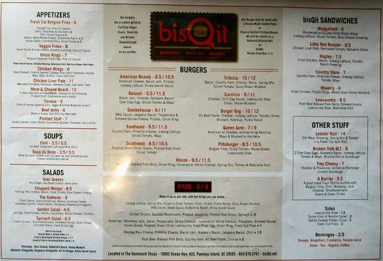 Pawleys Island, SC: Menu