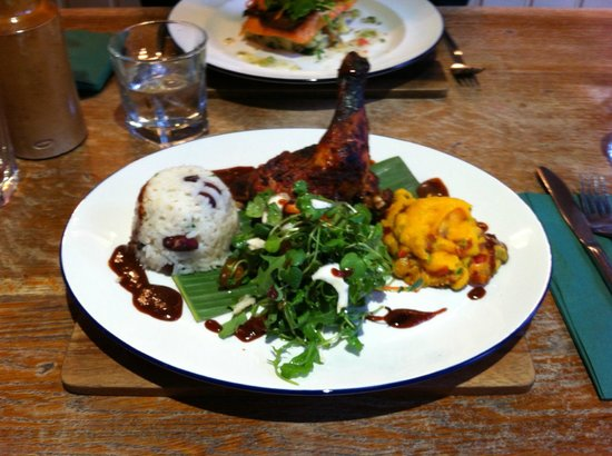 Hand and Trumpet: Creole chicken with sweet potato mash, rice and peas, watercress/coconut/pineapple salad