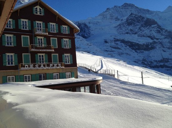Hotel Bellevue des Alpes: Vista di parte dell'albergo dalla camera