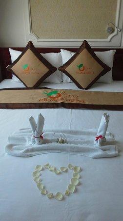Orange Hotel: Quaint pillows :/