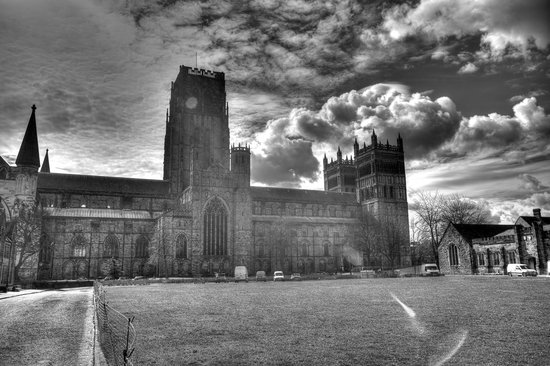 Durham Cathedral: outside - dramatized bw