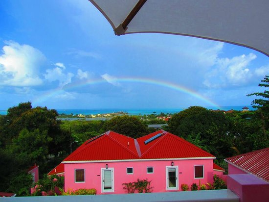 The Villas at Sunset Lane: Rainbow view from the Villas - building is not this bright in person