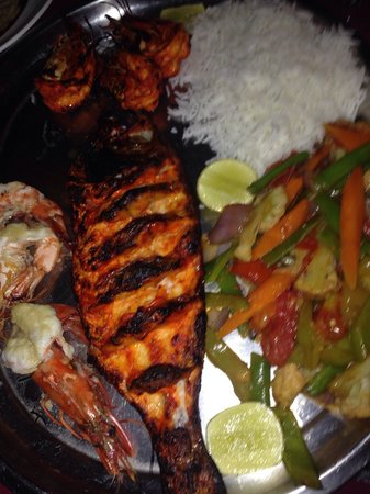 Abba restaurant and Everest German Bakery: Red snapper (tandoori) prawns and vegetables w rice.
