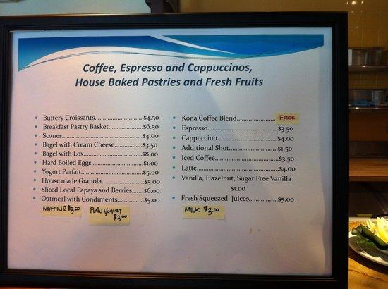 Lotus Honolulu at Diamond Head: Breakfast price list