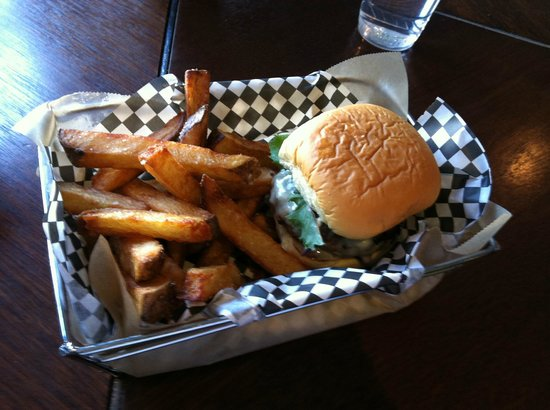 Cheeseburger with hand-cut French fries at Mission