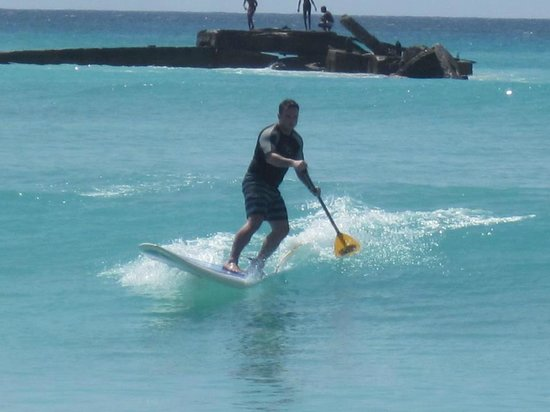 Paddle Barbados: Some SUP surfing after the paddle tour.