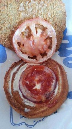 Culver's: Pork Tenderloin Sandwich had too few condiments for the size of the sandwich