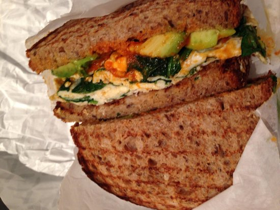 Healthy sandwich: egg white, spinach, avocado on wheat with ...