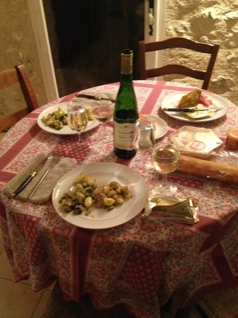 Moulin Sainte Anne : Dinner is set!  We cooked for ourselves a couple of nights in the Aile Sud kitchenette
