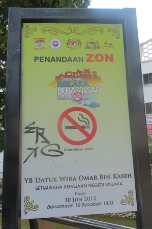 Jonker Boutique Hotel: Smokers beware - Old Malaka is a non smoking precinct