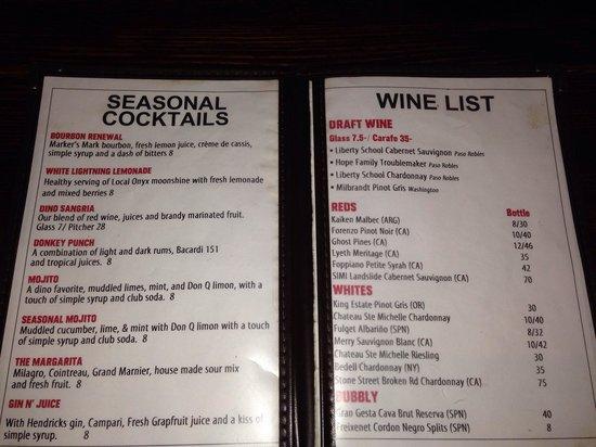 Dinosaur Bar-B-Cue: Beverage menu