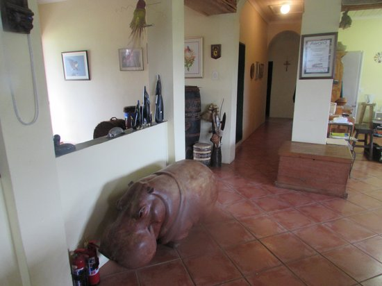 Khaya La Bantu Cultural Village: A Carved Hippo in the Owner's living room