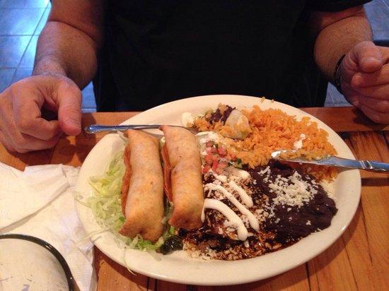 Viva Mexico Restaurant: Combo entree: 2 chimichangas & a burrito!