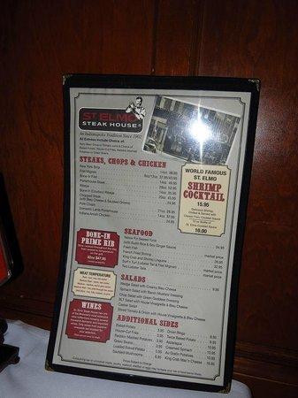 St. Elmo Steak House : Menu