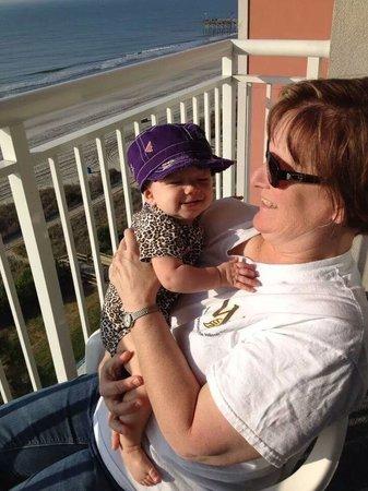 Atlantica Oceanfront Resort: Enjoying the balcony view with my princess.
