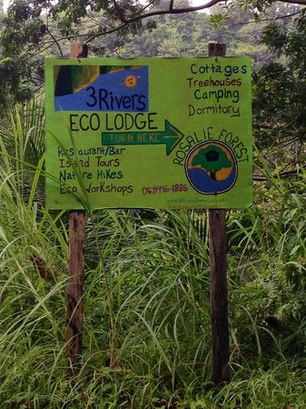 Rosalie Forest Eco Lodge: This is the sign leading into the road to hike to get you there