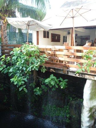 Hotel Posada Sian Ka'an : Breakfast area and cenote with waterfall
