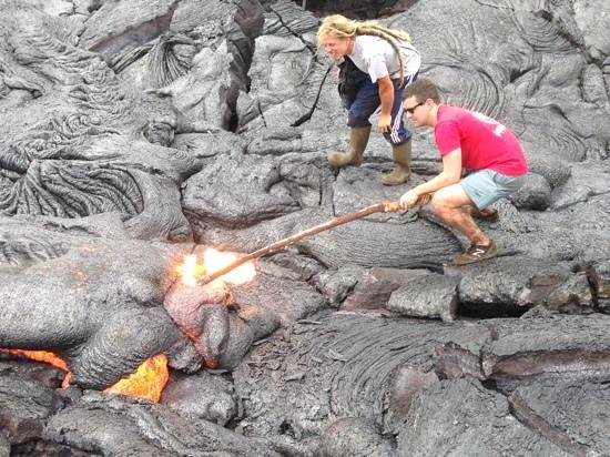 Lava Ocean Tours Inc : poking the lava on april 24, 2014