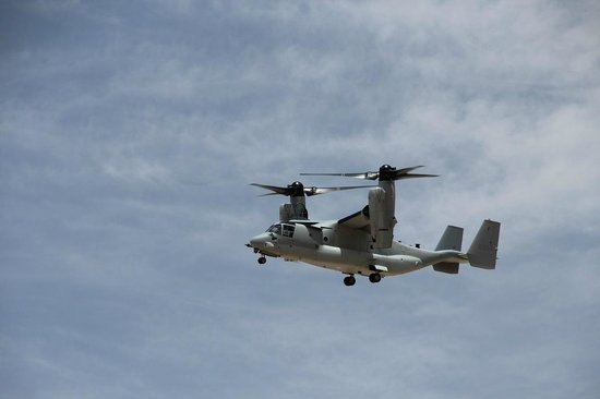 Texas Air & Space Museum: Not at the museum but a V22 Osprey we saw landing whilst there.