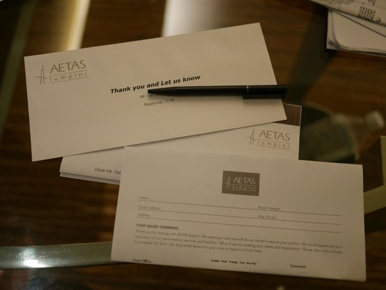 AETAS lumpini: Comment Letter before a night we check out