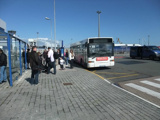 P&O Ferries - Day Trips : Bus - waiting to leave the port to Calais town