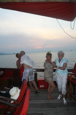 The Red Baron: Grandparents, mum and auntie dancing on the deck as the sun sets