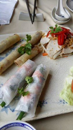 Huong Lai: Assorted spring rolls.