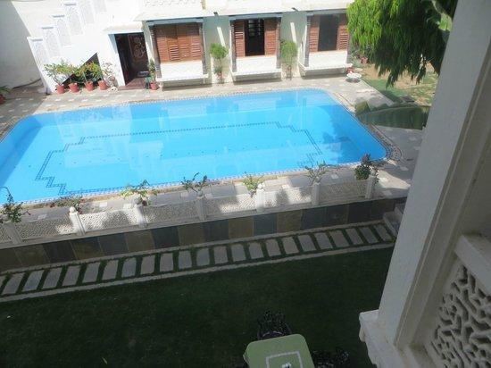 Hotel Mahendra Prakash: the pool, viewed from room 22