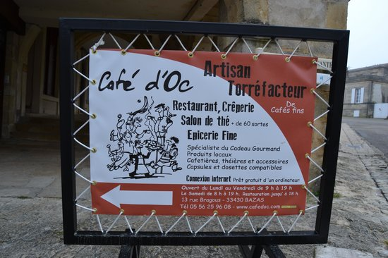 Café d'Oc : plaque indicative