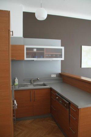 Downtown Suites Kodanska: Küche im Wohnzimmer
