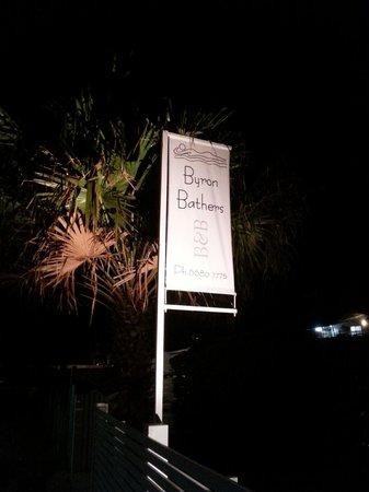 Byron Bathers: Signage at night