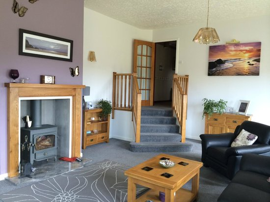 Heatherdale Bed & Breakfast: Guest lounge with TV, DVD player, log stove & sea views