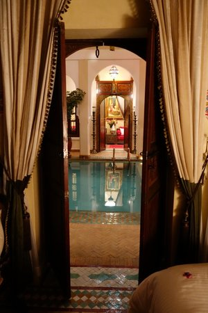 Riad Hikaya: View of the courtyard pool from our bedroom!