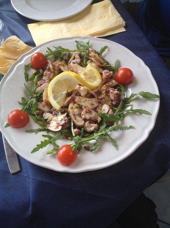 Il Porticciolo: Carpaccio di polpo marinato con granella di pistacchi  su lettino di rucola