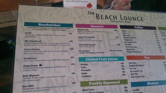 Beach Lounge: Menu (part)