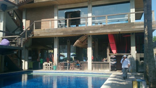 Beach Lounge: Inside view of pool area, surf/diving school