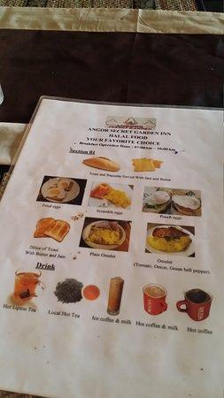 Angkor Secret Garden Hotel: Breakfast menu