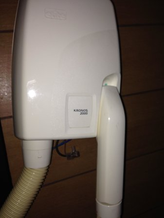 Euro House Rome Airport: Hairdryer ready to fall and exposed wires