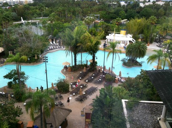 Loews Royal Pacific Resort at Universal Orlando: The pool from above.
