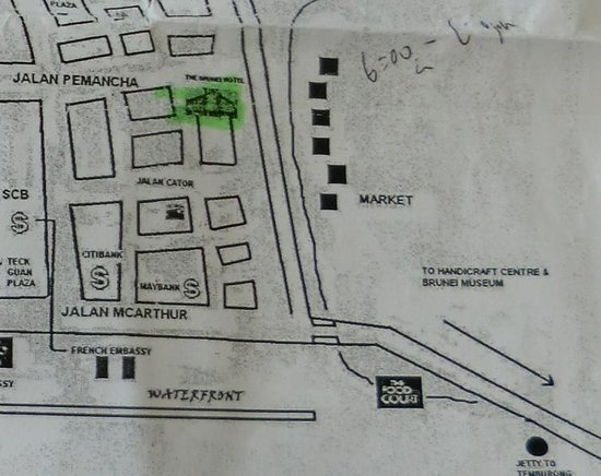 My hotel (Brunei Hotel) offered me a map nearby. It shown me the location of Brunei Museum, howe