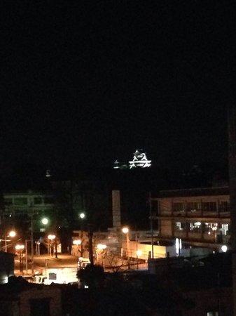 Dyeing and Hostel Nakashimaya: 屋上からライトアップされた熊本城が見えます