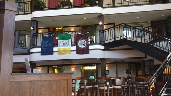 Inn at Saint Mary's : from Lobby looking at College flags