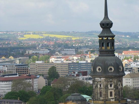 Frauenkirche: The yellow fields at the distance