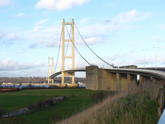 The Humber Bridge: View of the bridge from the south.