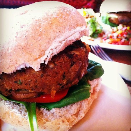 Tea Sutra Teahouse: vegan burger. every component is well prepared.