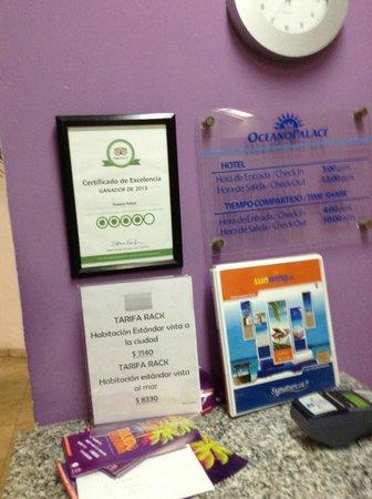 Oceano Palace: Certificado TripAdvisor