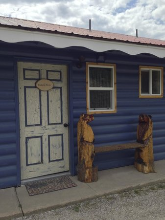 """The North Face Lodge: Themed rooms - this is """"Black Bear"""" entry door"""