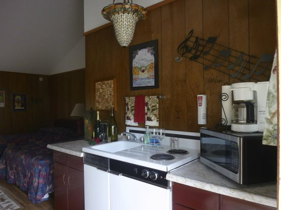 """The North Face Lodge : Kitchen in """"Uncorked"""" room"""