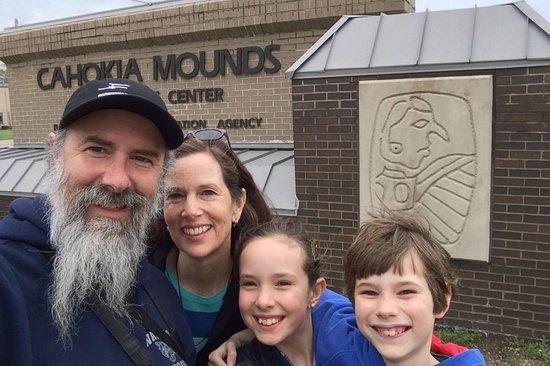 Cahokia Mounds State Historic Site : SkrentnyWood Family at Cahokia Mounds Visitors Center Sign